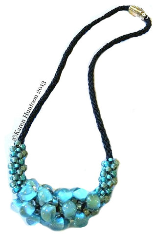PATTERN ONLY - Kumihimo Teardrop Focal Beaded Necklace