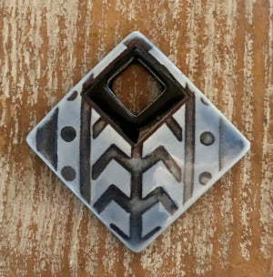 Porcelain Pendant, Tribal Squared -  Soft Blue