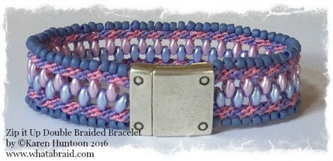 ***Zip it Up© Double Braided Bracelet with Single Color Edge Beads