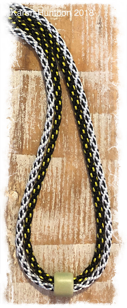 Two-Braid Necklace with Satin & Porcelain Focal - Black & Silver