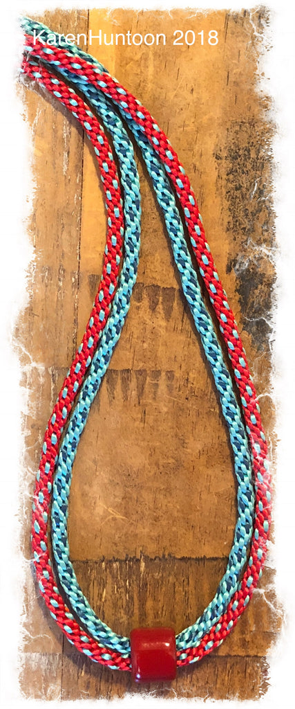 Two-Braid Necklace with Satin & Porcelain Focal - Red & Turquoise