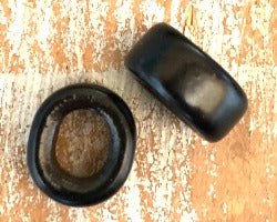Porcelain Slider Bead Smaller, Large Hole - Black