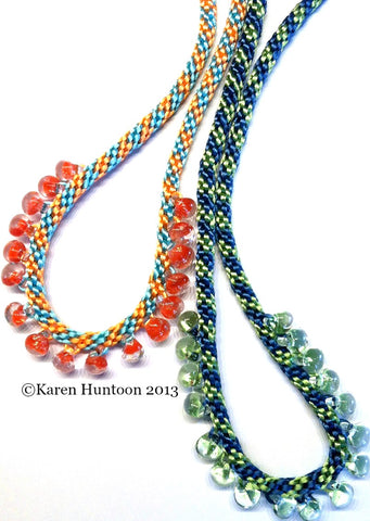 Instant Download Tutorial - Kumihimo Braided Teardrop Edge Bead Necklace