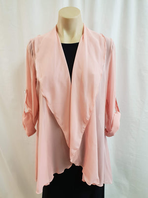 LS Salmon Chiffon Jacket - Fashion Focus