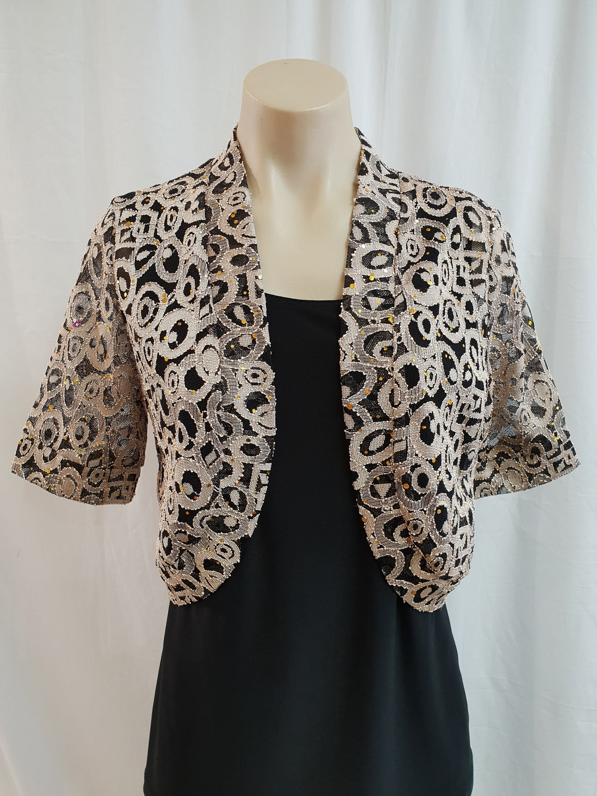 Yesadress Gold/Black Lace Jacket