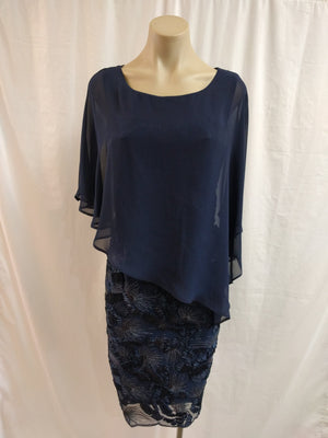 Frank Lyman Navy Overlay Lace Dress - Fashion Focus