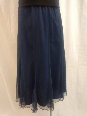 Yesadress Navy Mesh Overlay Skirt