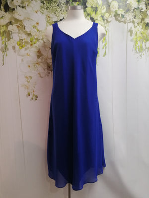 Swish Georgette Dress Royal Blue - Fashion Focus