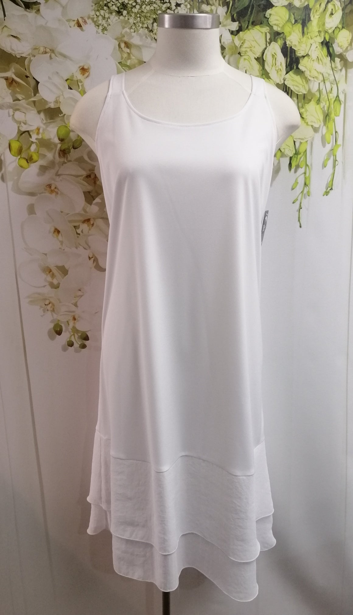 Cashews Under Slip with Chiffon Hem - White  B61 - Fashion Focus