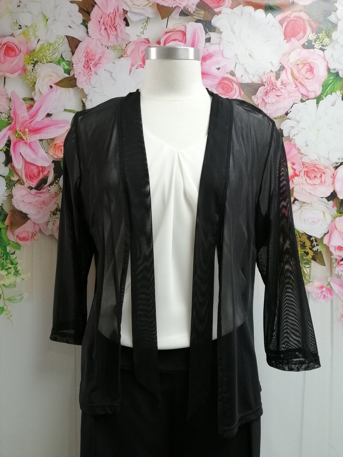 Vivid Cardi with Tie - Black - Fashion Focus