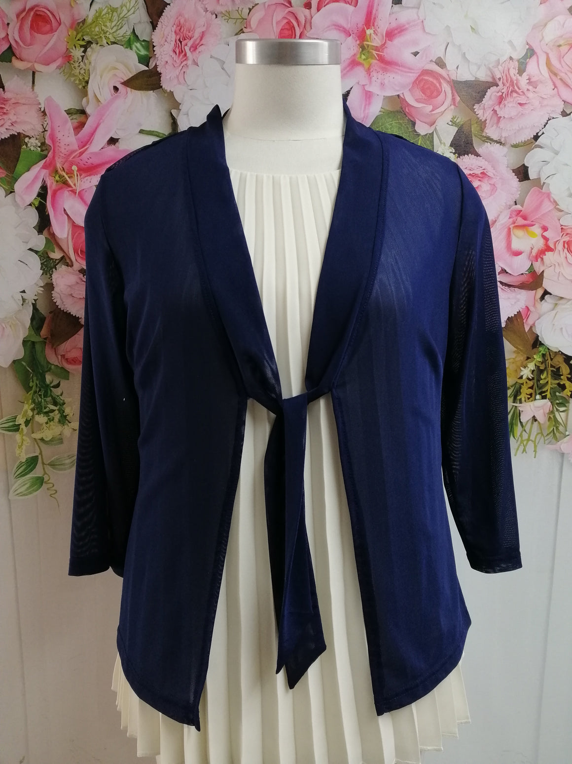 Vivid Chiffon Tie Cardigan - Ink - Fashion Focus