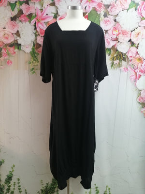 Cashews Square Neck Dress - Black - Fashion Focus