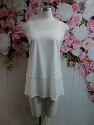 Cashews White Cami With Chiffon B59 - Fashion Focus
