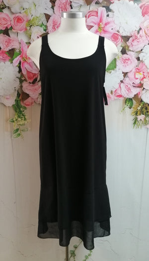Cashews Under Slip with Chiffon Hem - Black  B61 - Fashion Focus