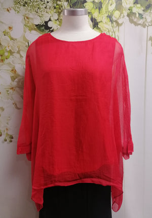 Yesadress Red Overlay Top - Fashion Focus
