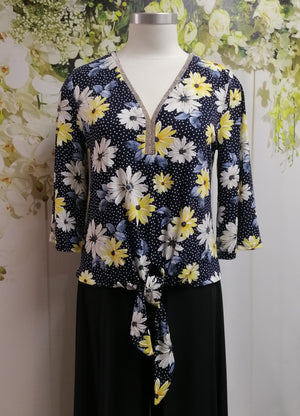 Frank Lyman V Floral Top w Tie - Fashion Focus