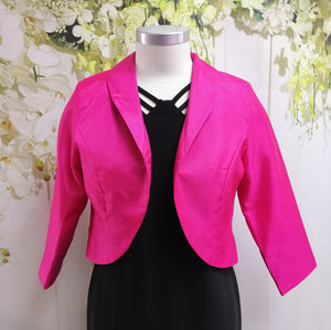 LS Collection Crop Jacket Fuchsia (SB39 PJI) - Fashion Focus