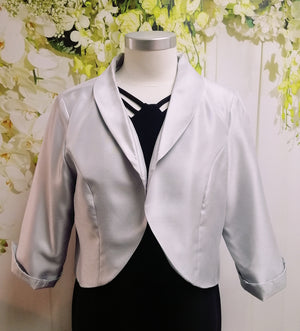 LS Collection Cropped Jacket Silver - Fashion Focus