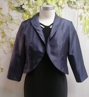 LS Collection Cropped Jacket Navy - Fashion Focus