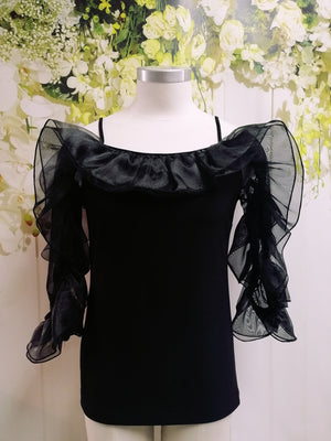 Frank Lyman Ruffled Detail Top - Black - Fashion Focus