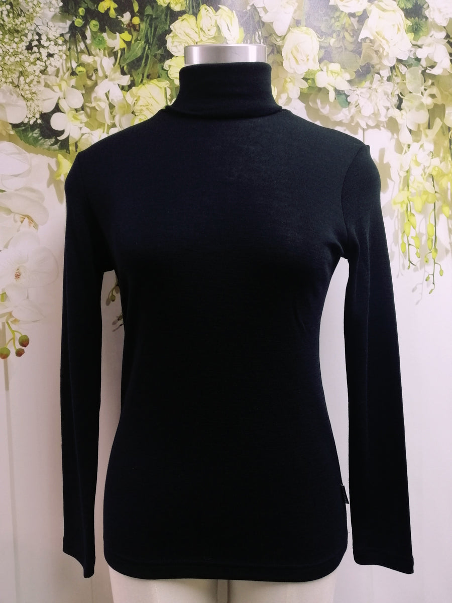 Bay Road Merino Polo Neck - Black (BR716) - Fashion Focus