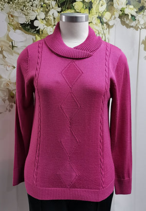 Slade Crossover Neck Jumper Carnation - Fashion Focus