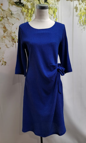 LS Collection Side Tie Dress Blue - Fashion Focus