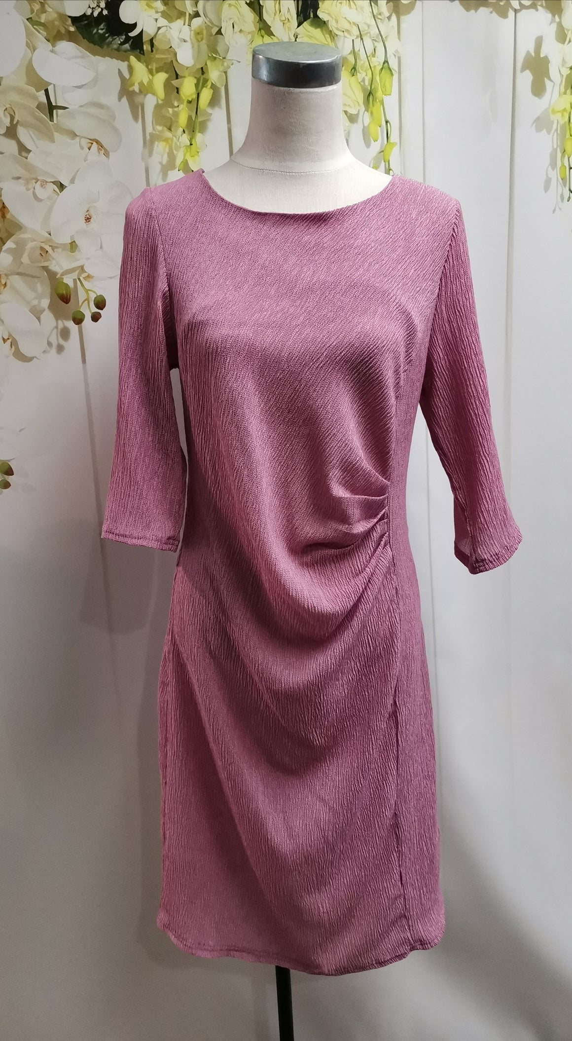 LS Collection Dusky Pink Ruched Dress - Fashion Focus