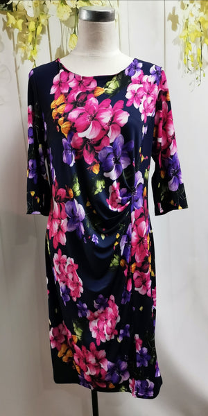 LS Collection Floral Ruched Dress - Fashion Focus