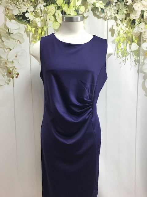 LS Collection Sleeveless Drape Dress - Purple - Fashion Focus