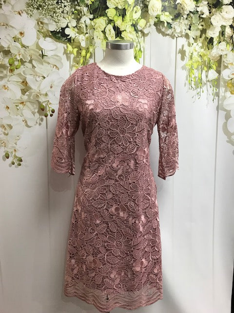 Yesadress 3/4 Sleeve Lace dress - Pink