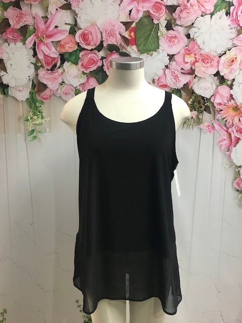 Cashews Black Cami with Chiffon hem. B59 - Fashion Focus
