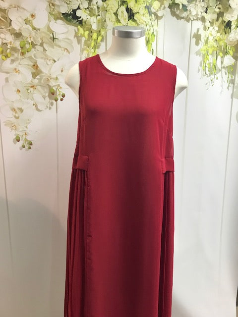 Obi Babylon Pleat Dress - Ruby Red - Fashion Focus