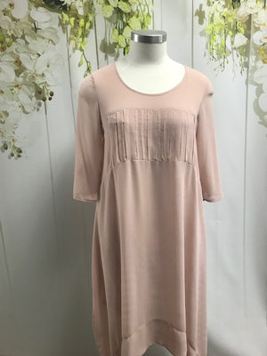 Chocolat Chiffon Pillar Dress - Blush - Fashion Focus
