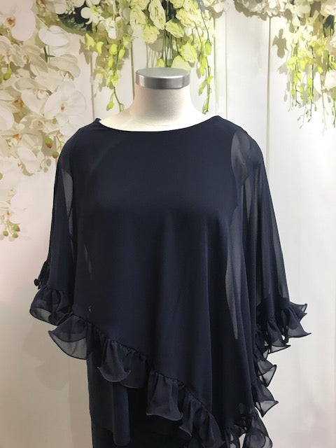 Lyman Navy Overlay Top - Fashion Focus