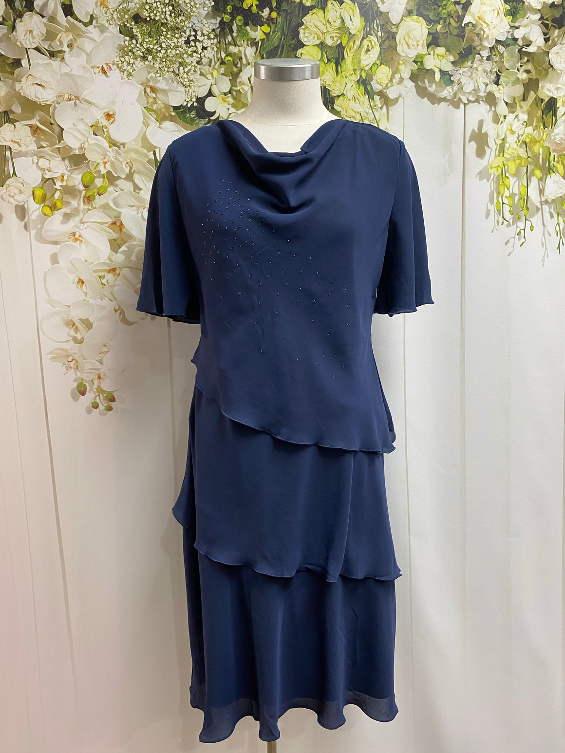 Yesadress Cowl Neck Layer Dress - Navy - Fashion Focus