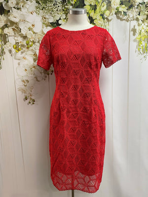 Yesadress Short Sleeve Lace Dress - Red - Fashion Focus