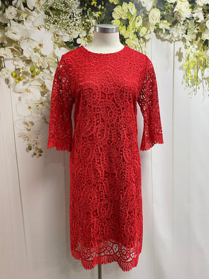 Yesadress 3/4 Sleeve Lace Dress - Red - Fashion Focus