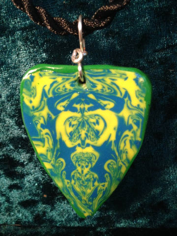 #106a  Large Green Totem Pendant