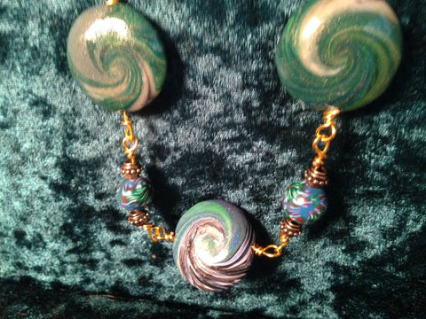 #109 Green Swirl Necklace