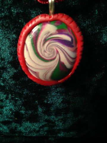 #113 Red Swirl Pendant with Hand Crafted Bezel