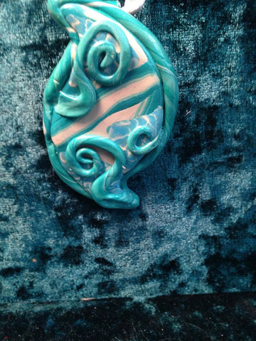 #151 Green Free  Form Pendant with Vines