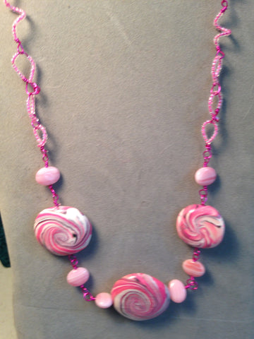 # 156 3 Bead Pink Swirl Necklace