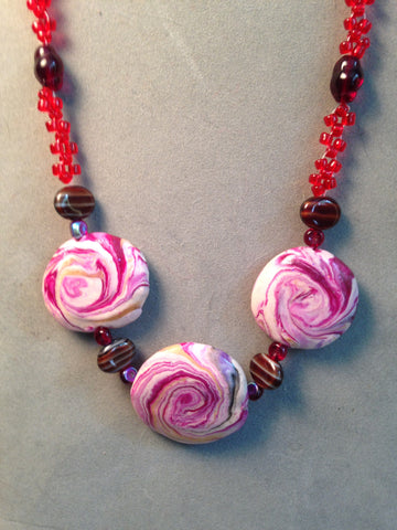 # 157 Three Red Swirl Beads Necklace