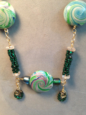 # 158 Five Green Swirl Bead Necklace