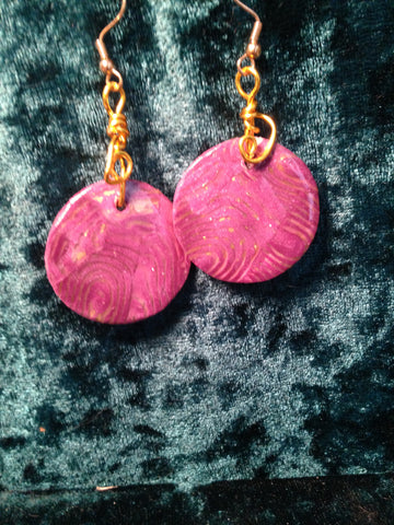 # 163 Lavender and Gold Leaf Earrings