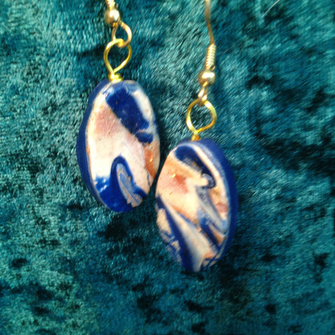 # 189 Oval Mokume Game Earrings in Blue and Gold