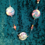 "# 198  3 Swirl Bead ""Invisible"" Style Necklace"