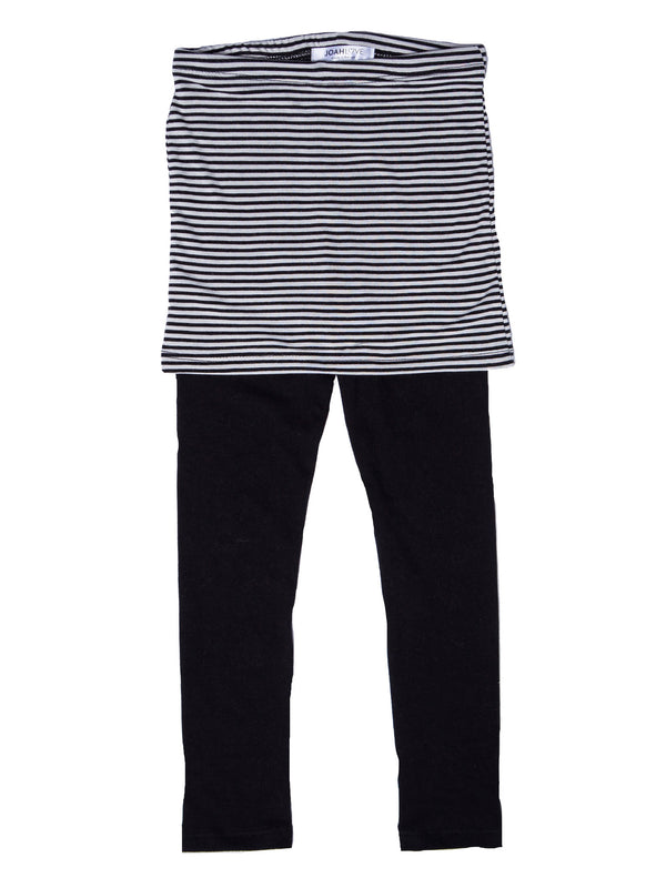 Joah Love Esme Black & White Stripe Skirted Leggings