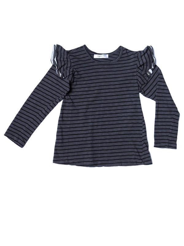 Joah Love Meya Long Sleeve Strip Tee w/ Ruffle Sleeves - Titanium